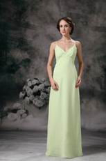 Yellow Green Spaghetti Straps Long Chiffon Bridesmaid Dress