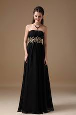 2014 Best Black Chiffon Long Bridesmaid Dress For Juniors