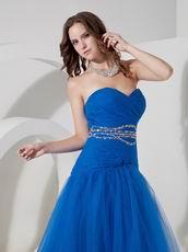 Floor-length Ultramarine Blue Tulle Desiner Prom Dress