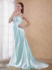 Light Blue One Shoulder Floor Length Skirt Prom Dress