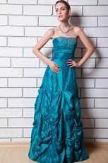 Beautiful Beaded Peacock Blue Taffeta Lady Evening Gown