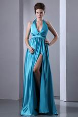 Beautiful Halter Azure Prom Dress A-line Skirt With Front Split