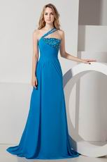 Cheap One Shoulder Court Train Blue Celebrity Prom Dresses