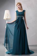 Beautiful Front Drap Strong Blue Wedding Party Mother Dress