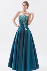 Amazing Dark Cyan Beaded Evening Dress By Taffeta