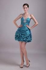 Teal Halter Designer Mini Cocktail Dress With Rhinestone