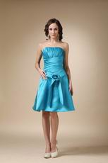 A-line Strapless Knee-length Sky Blue Girls Bridesmaid Dress
