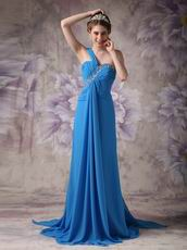 Beautiful One Shoulder Dodger Blue Prom Dress With Front Drap