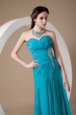 Sweetheart Teal Blue Prom Dress With High Leg Side Split