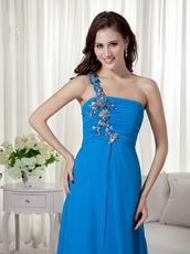 One Shoulder Azure Blue Chiffon Appliques 2014 New Prom Dress