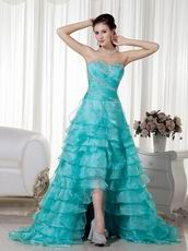 Aqua Blue Sweetheart Layers High-low Skirt Dress Prom
