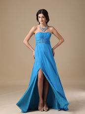 Best Deals Show Leg Side Split Dodger Blue Prom Dress 2014