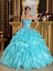 Beaded Sweetheart Aqua Ruffle Skirt Quinceanera Dress Cheap