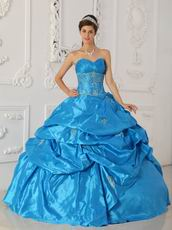 Hot Sell Sweetheart Teal Blue Puffy Ball Gown To Quinceanera