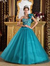 Sea Green Quinceanera Dress With One Shoulder Skirt