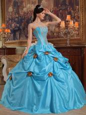 New Arrival 2014 Strapless Sky Blue Girls Quinceanera Gowns