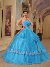 Sequins Fabric Azure Quinceanera Party Dress With Bowknot