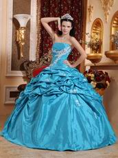 Teal Blue Strapless Appliqued Dress Quinceanera Gown