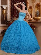 Fabric With Rolled Flowers Quinceanera Dress In Dodger Blue