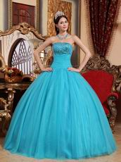 Beaded Strapless Aqua Blue Quinceanera Gown Tulle Fabric