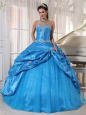 Appliqued Dodger Blue Strapless Quinceanera Birthday Dress