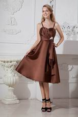 Classic Spaghetti Straps Junior Homecoming Dress Brown