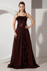 Spaghetti Straps Floor Length Brown Buy Evening Dress Online