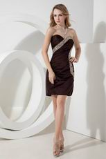 Crystal Column Brown La Femme Short Evening Dress