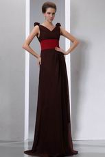 Coconut Brown Chiffon Evening Dress With Cerise Red Belt