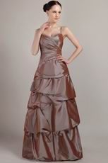 Brown Taffeta Spaghetti Strap Floor-length Prom Dress Online
