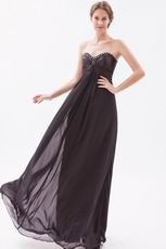 Sweetheart Style Black Chiffon Best Formal Evening Dress