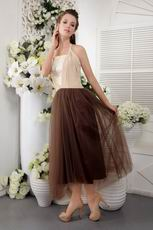Brown Halter Tea-length Short Evening Dress With Lace
