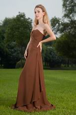 Not expensive Brown Strapless Long A Bridal Bridesmaid Dress