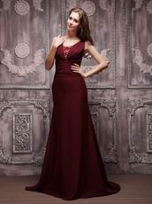 V-neckline Burgundy Chiffon Oscar Evening Dress For Cheap