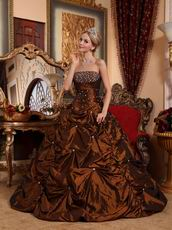 Beaded Saddle Brown New Coming Quinceanera Dress