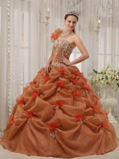 Beautiful One-shoulder Neck Rust Brown Quinceanera Dress