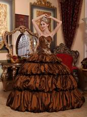 Popular Bubble Saddle Brown Winter Wear Quinceanera Dress