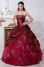 Burgundy Taffeta Prom Ball Gown With Embroidery Emberllishments
