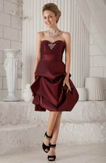 Sweetheart Bubble Knee-length Burgundy Taffeta Prom Type Dress