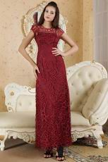 High Neck Burgundy Skirt Dress For Mother Of The Bride