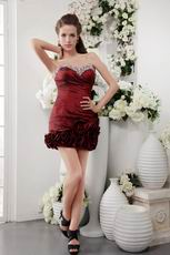 Wine Red Rolled Fabric Flowers Short Graduation Dress