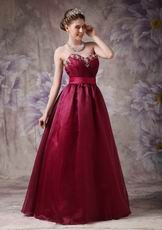 Burgundy Organza Sweetheart Neck Puffy Prom Ball Gown
