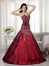 2009 Styles Burgundy Quinceanera Dress With Applique