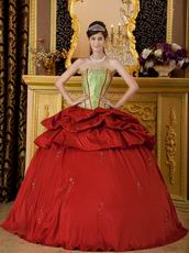 Embroidered Strapless Cardinal Red Quinceanera Puffy Dress
