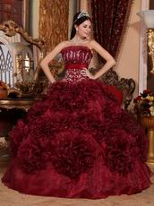 Basque Burgundy Quinceanera Dresses With Ruffled Flowers