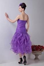 Sweetheart Tea Length Purple Organza Women Evening Dress