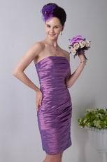 Simple Ruched Sheath Plum Taffeta Short Prom Dress Online