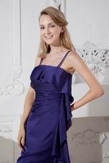 Spaghetti Straps Navy Blue Chiffon Mini Evening Dress