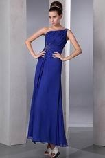 One Shoulder Floor Length Front Split Skirt Cobalt Blue Prom Dress