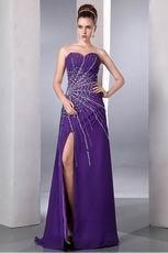 Sexy Beading Emberllish Eggplant Long Split Skirt Prom Dress